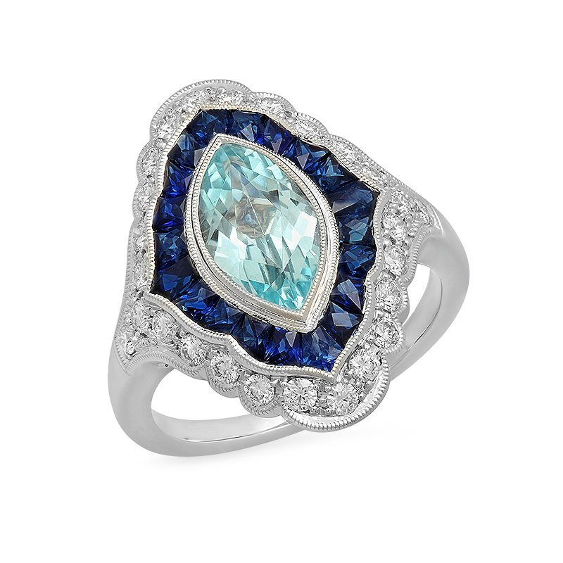 Beverley K Vintage Aquamarine and Sapphire Ring
