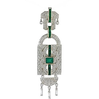 Art Deco Emerald and Diamond Pendant