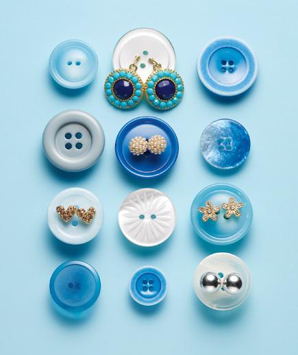 Blue Buttons Earrings Gal Levi Brown