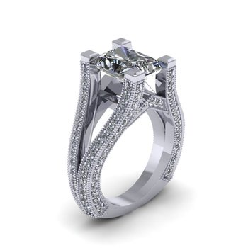 Lunaria Split Shank Diamond Engagement Ring