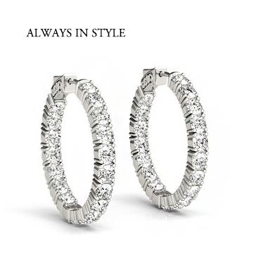 Scottsdale Diamonds, Diamond Earrings, Diamond Hoop Earrings, inside out hoop earrings, chandler earrings, peoria earrings