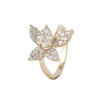 Sophia by Design Pave Diamond Flower Ring