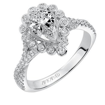 Contemporary Pear-Shaped Center Diamond Engagement Ring with Halo