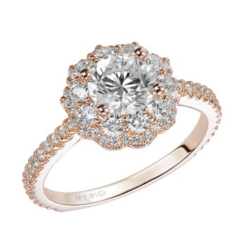 Rose Gold Floral-Inspired Halo Diamond Engagement Ring