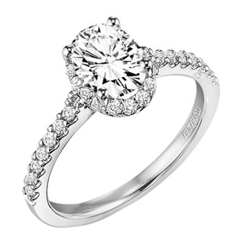 Oval Center Diamond Engagement Ring With Halo